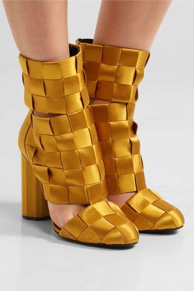 Marco De Vincenzo - Cutout Basketweave Satin Ankle Boots - Mustard - IT38.5