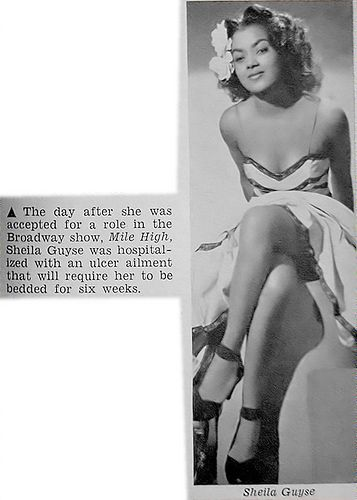 Sheila Guyse | Beautiful multi-talented Sheila Guyse was a popular, well-loved figure on the stage and screen of the Dorothy Dandridge era. Very popular in the 1940s and 1950s, Sheila graced many covers of magazines like Jet, Ebony, Our World and many others, reviews were always flattering.