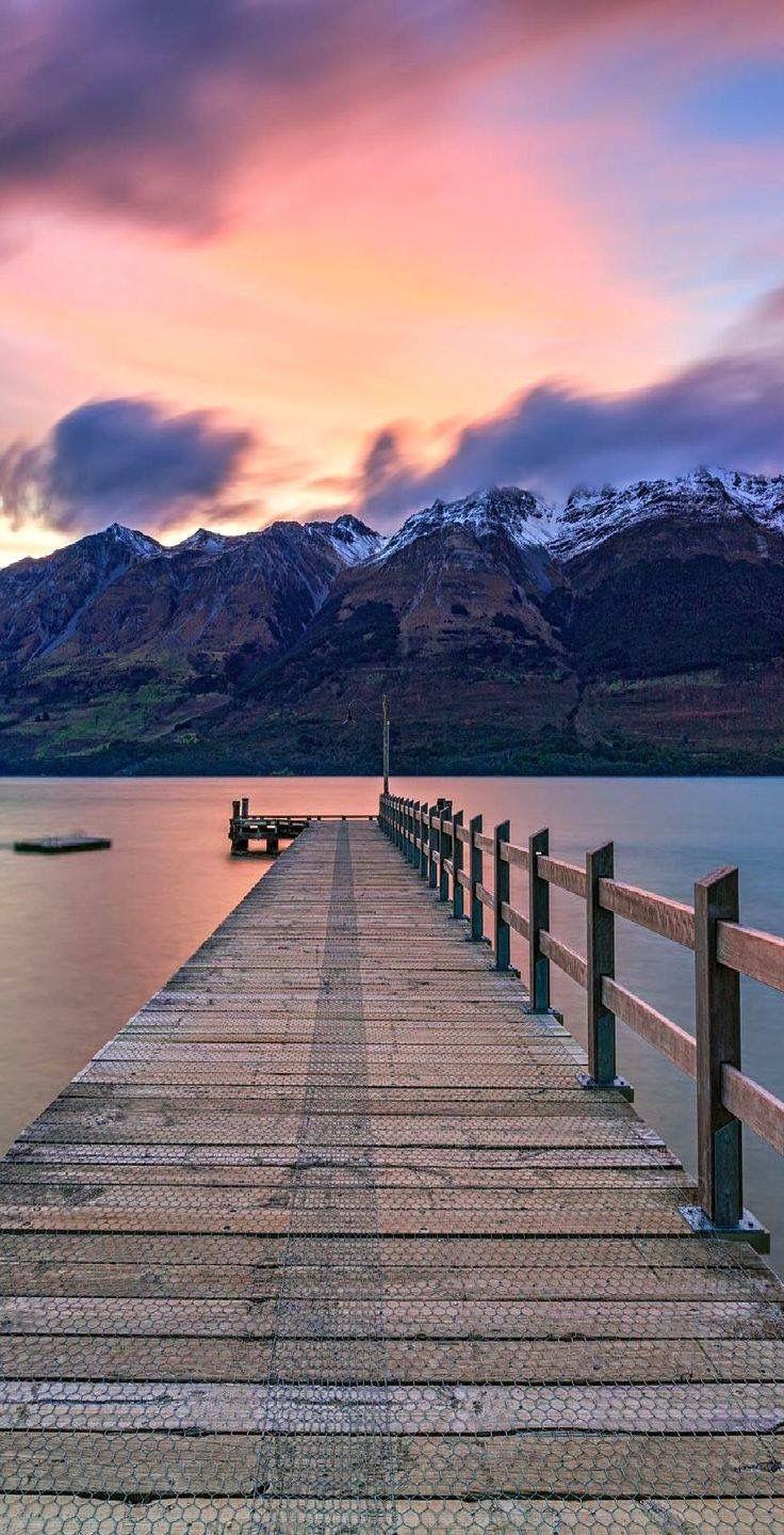 Jetty on Lake Wakatipu in Glenorchy, New Zealand...