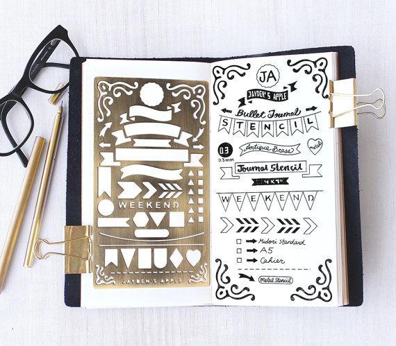 Planner Stencil Bullet Journal Stencil Banners and by JaydensApple