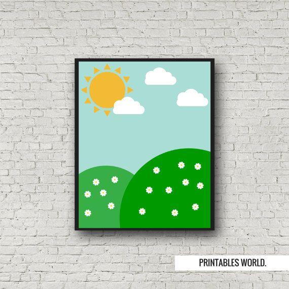Hill landscape Printable Poster Instant by PrintablesWorld on Etsy