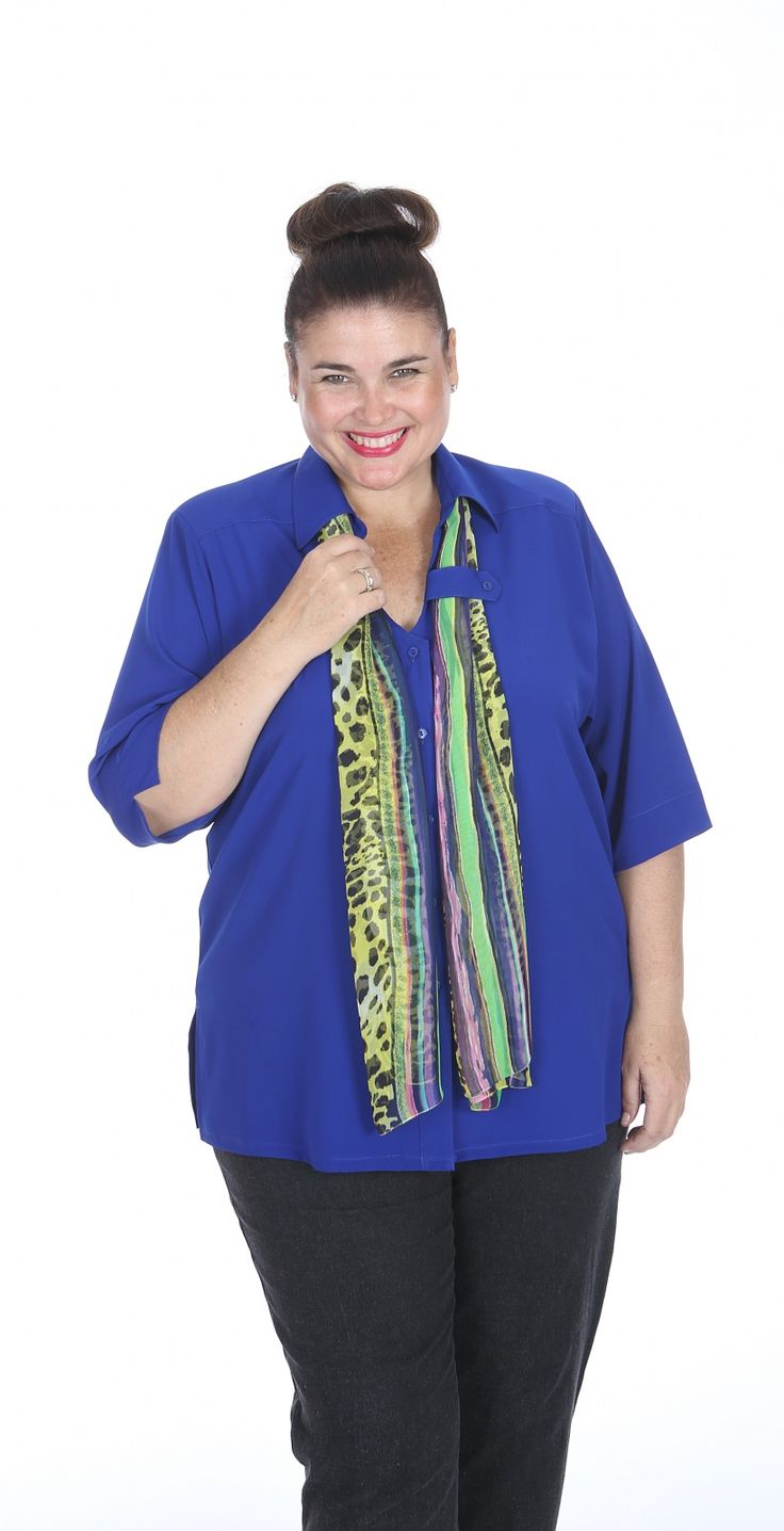 Tab Detail Blouse Royal: Top Seller- Sybil's crepe de chine tab front blouse. Scarf included - sacarf design may vary Fabric: Crepe de Chine Label: Sybils