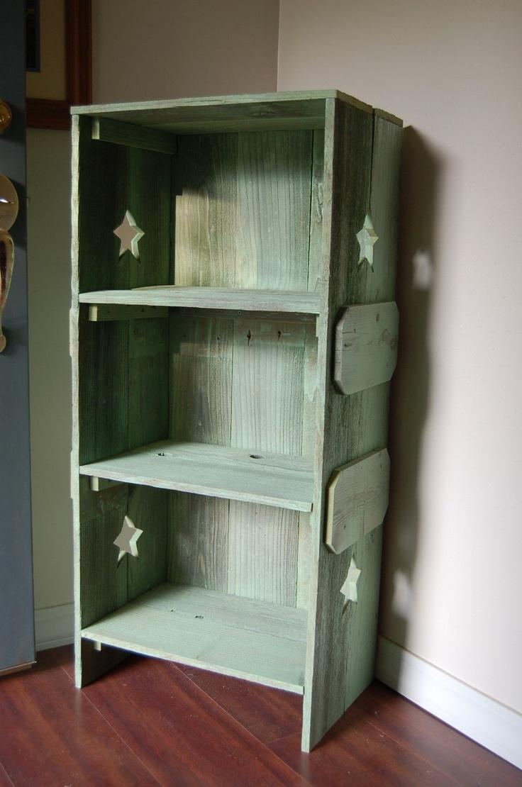 Wood Bookcase. Green Bookcase Wood Shelf Rustic Childs Room Furniture Wood Furniture. Kids Decor Green Wood Shelf. $399.00, via Etsy.