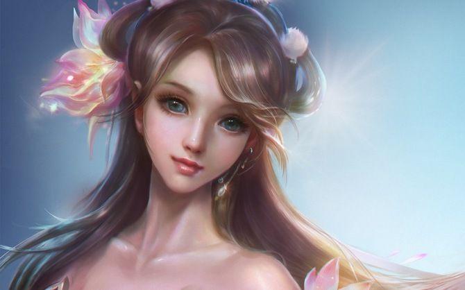 rongrong wang, арт, rong rong, девушка, фон, цветы