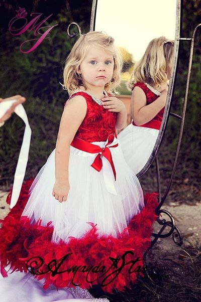 Red and White Feather Girls Christmas Dress maybe sequins and pearls instead of feathers?