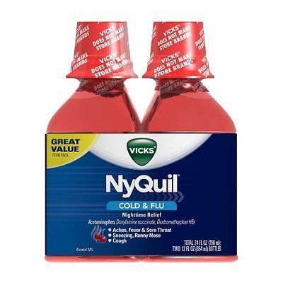 Cough Cold and Flu: Vicks Nyquil Nighttime Cold And Flu Relief, Cherry, 12 Oz, 2 Ct (Pack Of 6) BUY IT NOW ONLY: $110.99