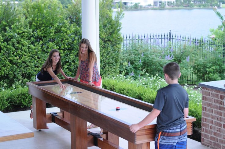 Let your kids have a blast outside on the porch with this active outdoor shuffleboard table by Aspen! http://www.BilliardFactory.com/Aspen-Outdoor-Shuffleboard-Table