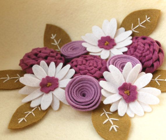 Felt Flowers and Leaves for DIY Crafting  Mulberry by CuriousBloom, $14.00