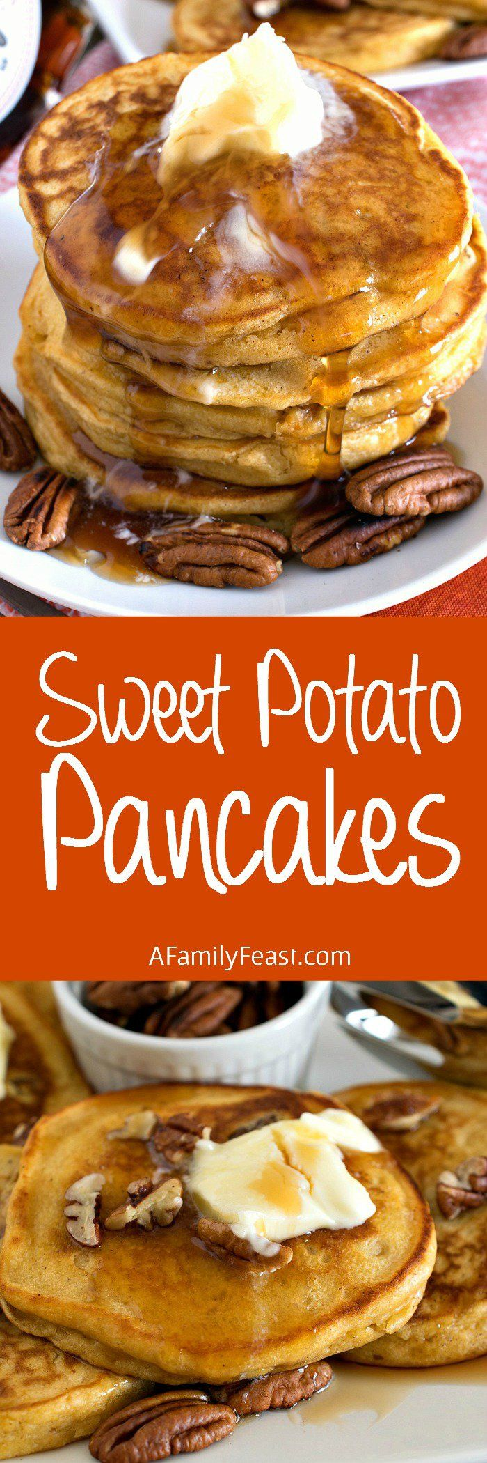 Sweet Potato Pancakes - Made from leftover sweet potato casserole, these delicious pancakes are some of the best pancakes you will ever eat!