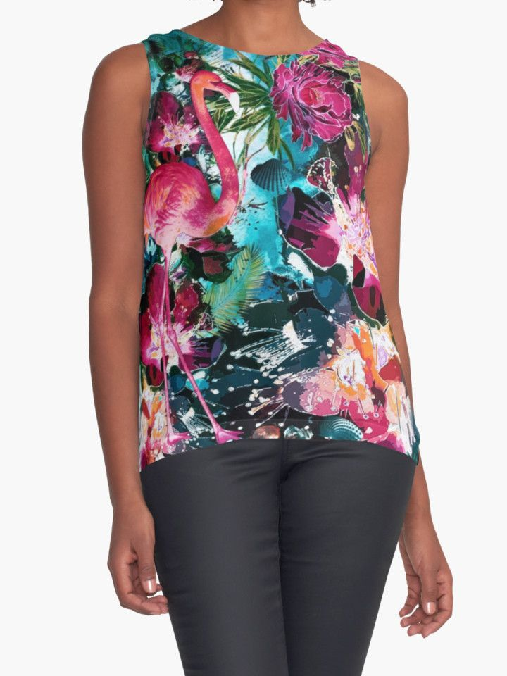 Tropical Night by RIZA PEKER #women #fasfion #tank #top #floral #summer #style #girls