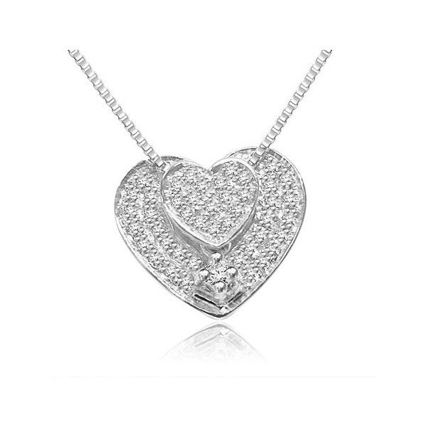 PENDENTE CON DIAMANTI 18CT ORO BIANCO | Pendente a forma di cuore con 40 diamanti. Il peso totale dei carti per questo pendente e` 0.22ct. I 39 diamanti pesano 0.005 ciascuno e sono montati a pave`.  il diamante centrale pesa 0.03ct e e` montato in griffe. Il diamante centrale 0.03ct + 39 x 0.005ct = 0.22ct. I diamanti sono disponibili in G ed H colore e in VS1 ed SI1 purezza. Questo pendente e` accompagnato dal certificato del diamante.