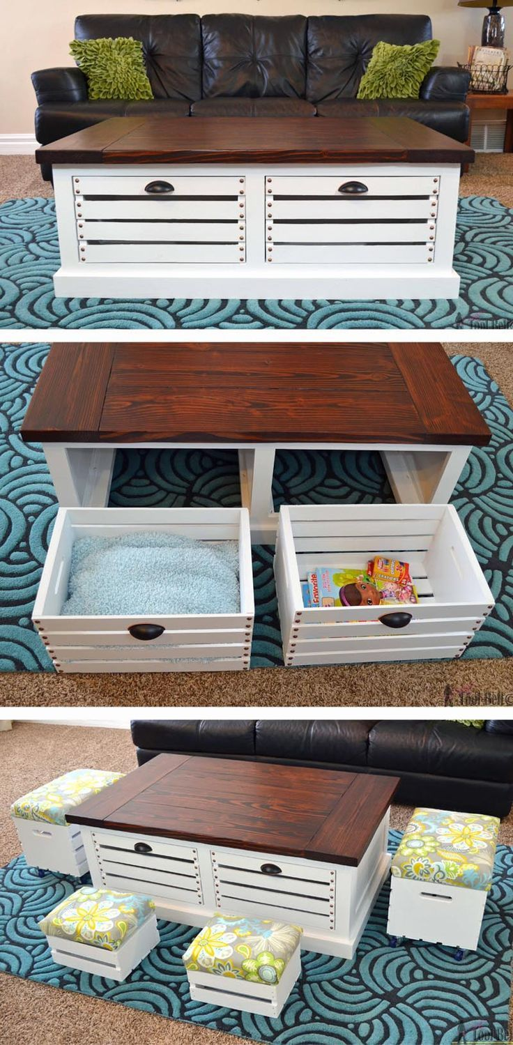 Best 25 build a coffee table ideas on pinterest diy wood table add storage to your living areas by building a stylish and unique crate storage coffee table geotapseo Image collections