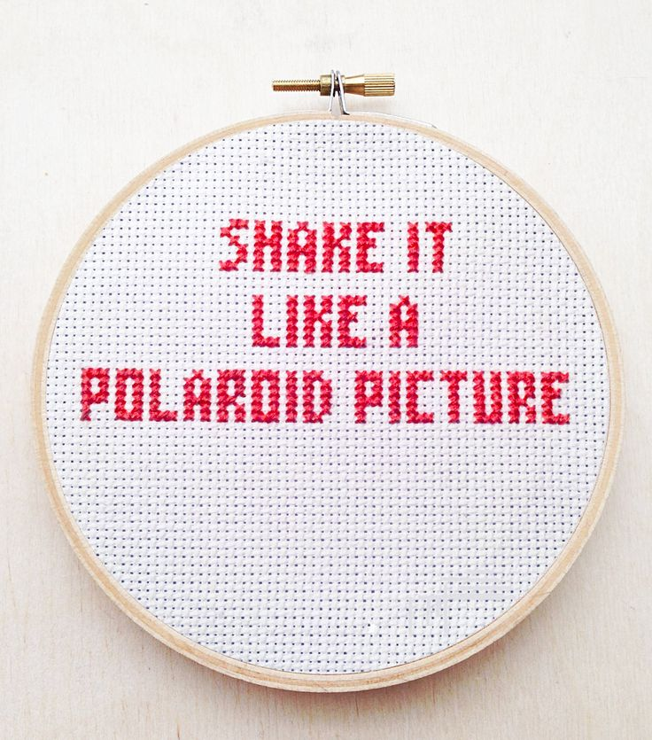 Shake It Like a Polaroid Picture Embroidery Outkast Hey Ya Hand Embroidery Hoop R&B Hip Hop Rap Lyric Cross Stitch Funny Hoop Music Decor by cardinalandfitz on Etsy https://www.etsy.com/listing/229832005/shake-it-like-a-polaroid-picture