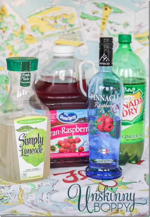 Raspberry Limeade Recipe: 1 jug Simply Limeade YUM 2 cups Cran-Raspberry Juice 2 cups Gingerale 1 cup Pinnacle Raspberry Vodka