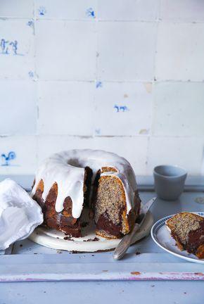 Mohn Marmorkuchen Gugelhupf Rezept mit Schmandguss poppy seed marble bundt cake foodstyling food photography backblog einfaches rührkuchen rezept leichte kuchen