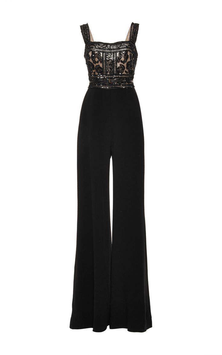 Embroidered Crepe Cady Jumpsuit by Elie Saab for Preorder on Moda Operandi