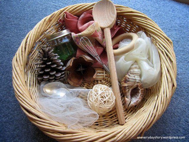 reggio montessori treasure sensory basket for babies using natural materials {An Everyday Story}