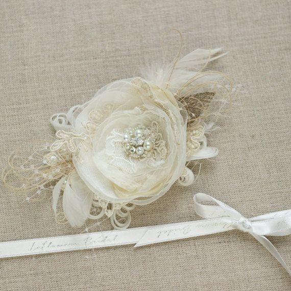 Champagne bridal wedding hair flower This item is made to order 3-5 business days, plus delivery time. -Flower size-3 ( not including accents)