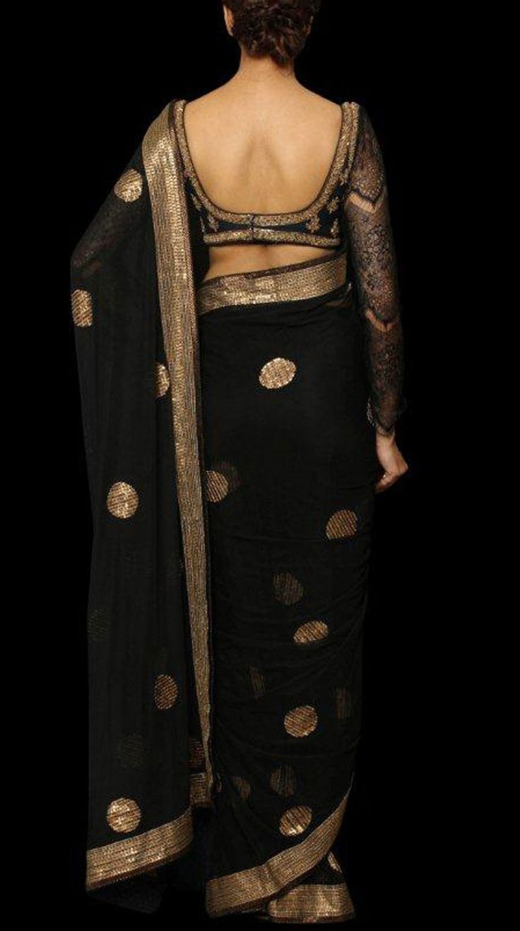 PRIYANKA CHOPRA BLACK NET SARI WITH STITCHED BLOUSE