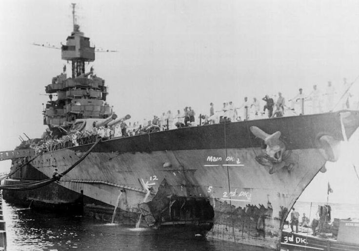 USS Maryland (BB-46). Was hit at Pearl Harbor but back in service and at Battle of Midway and Leyte Gulf. Received 7 battle stars for service in WWII. Decommissioned in 1947, sold for scrap 1959.