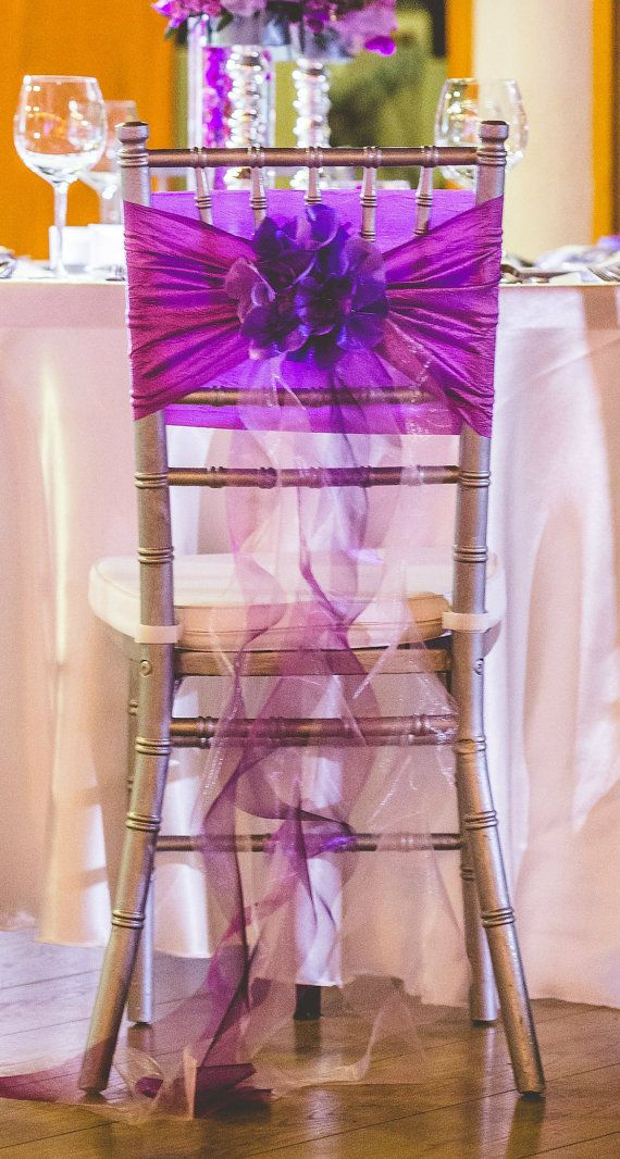 Handmade organza ,silk hydrangea chair decoration    Our chair covers usually are fit on only the Chiavari chairs.  If you are need another