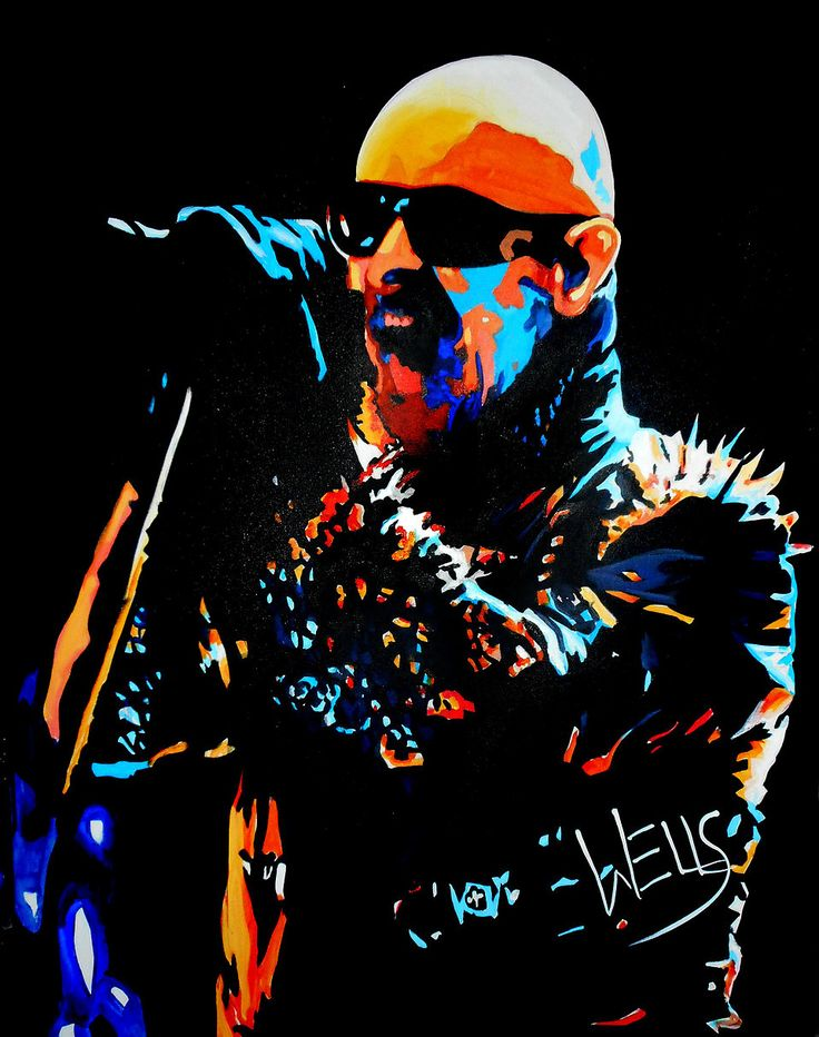 Rock Star Art by Stacey Wells Rob Halford of Judas Priest belts out a song, captured in the vibrant art by Stacey Wells