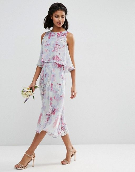 ASOS | ASOS WEDDING Dress With Soft Double Layer in Print