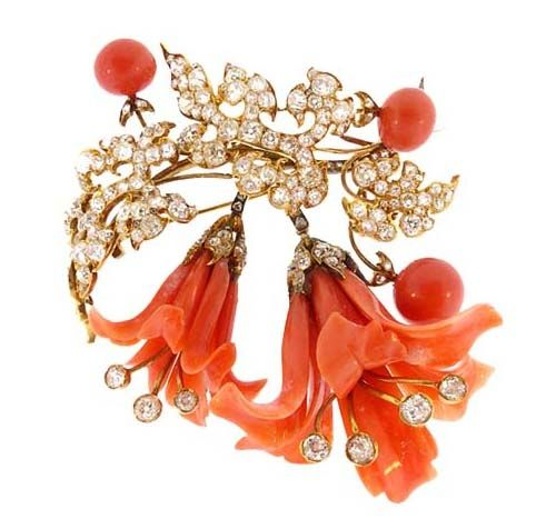 Kensington House Antiques - Victorian 18K Gold, Diamond & Coral Lily Brooch