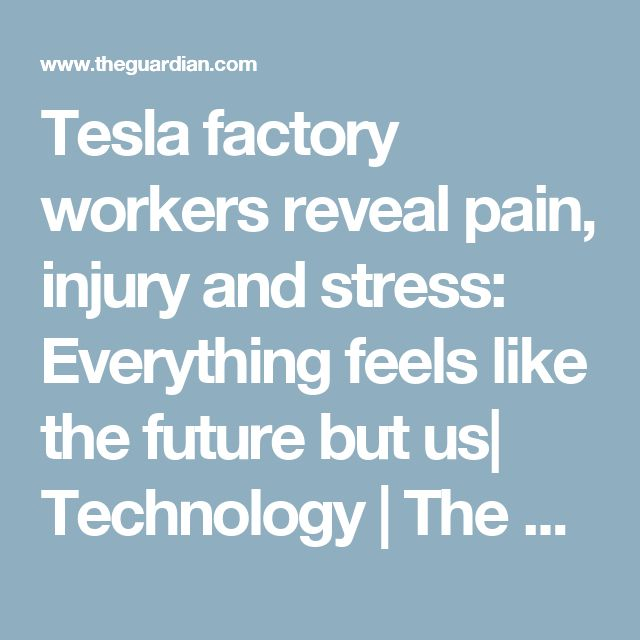 Tesla factory workers reveal pain, injury and stress: Everything feels like the future but us| Technology | The Guardian
