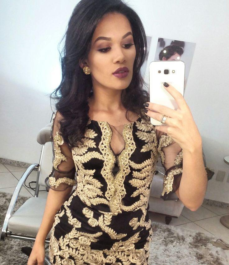 Vestido para formatura.  Preto com dourado  #vestidosfesta #costuras #hooby #elegante #adoro #formatura