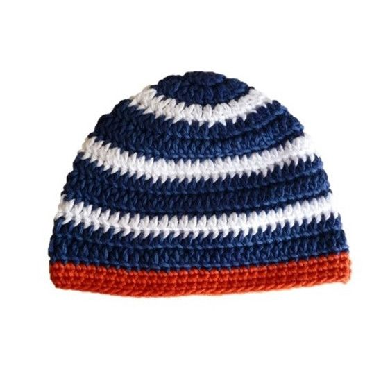 NAUTICAL HAT. Crocheted hat in navy, white and red. Made using 100% natural cotton. Sizes: 0-3m, 3-6m, 6-12m #olivebyclare