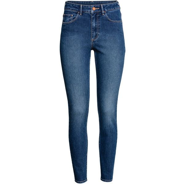 Skinny High Ankle Jeans $19.99 (£15) ❤ liked on Polyvore featuring jeans, bottoms, blue skinny jeans, high rise jeans, ankle length skinny jeans, skinny fit jeans and skinny ankle jeans