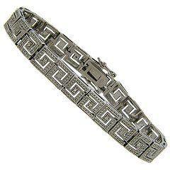 Sterling Silver Diamond Accent Greek Key Design Bracelet LEAH HANNA. $29.99
