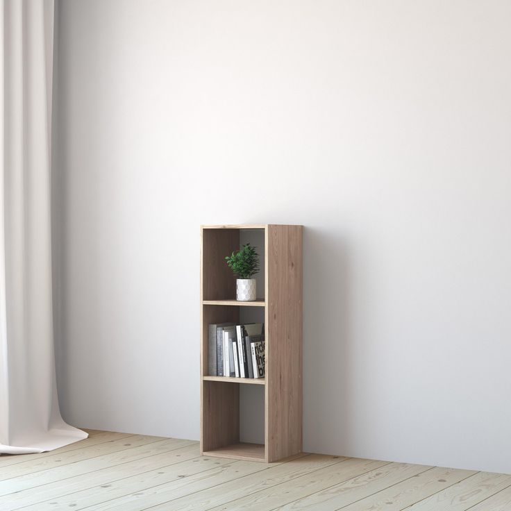 Etagere 3 Cases Spaceo Kub Chene H 104 8 X L 36 X P 31 7 Cm