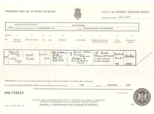 Death Certificate Mabel McCourt