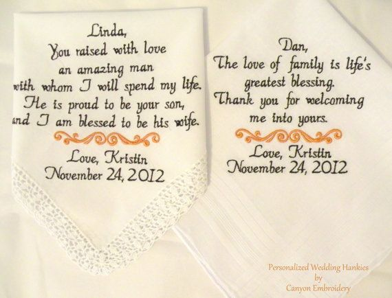 Father In Law Wedding Gifts: Embroidered Wedding Hankerchiefs, Mother And Father In-Law