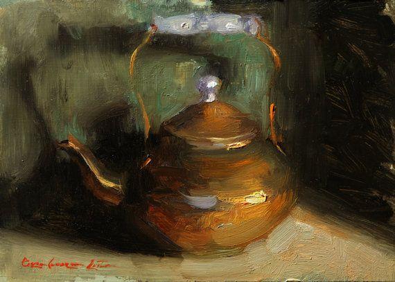Original Oil Painting Still Life Copper Tea Pot  5x7 By Bryce Cameron Liston