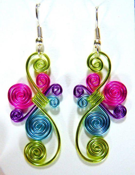 Multi-color wire earrings