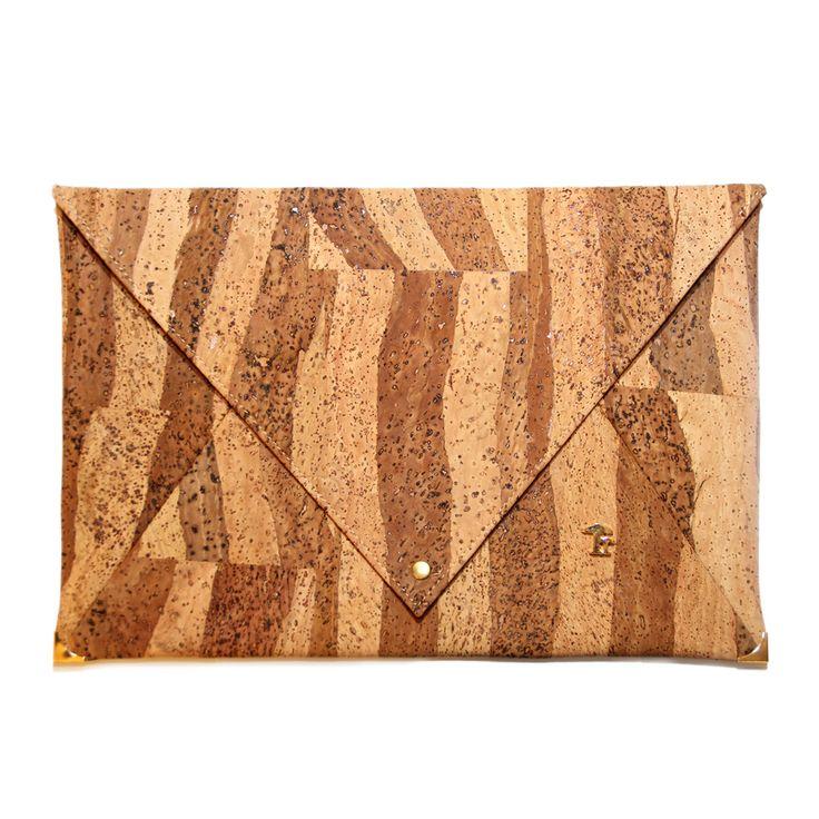 Large envelope bag made of cork - miami pattern