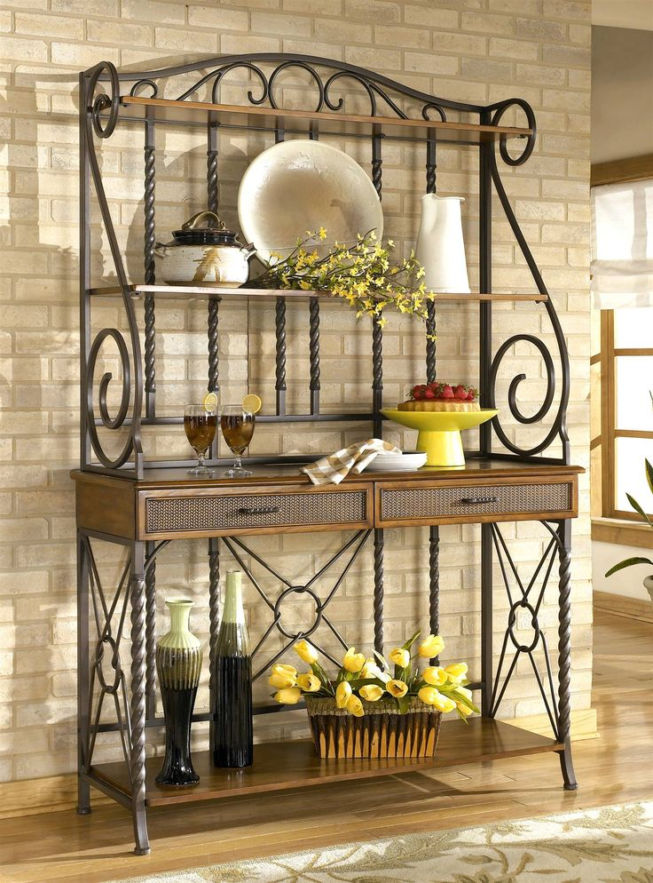 sleek designer bakers racks furniture | ... Bakers Rack - Signature Design by Ashley ( Kitchen, Bakers Racks