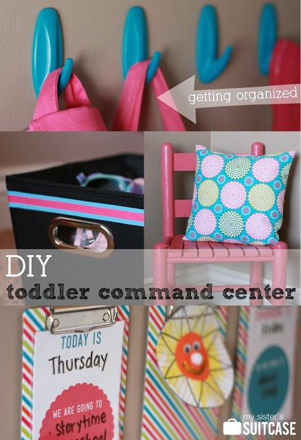 DIY Toddler Command Center with shoe bin and spray-painted chair