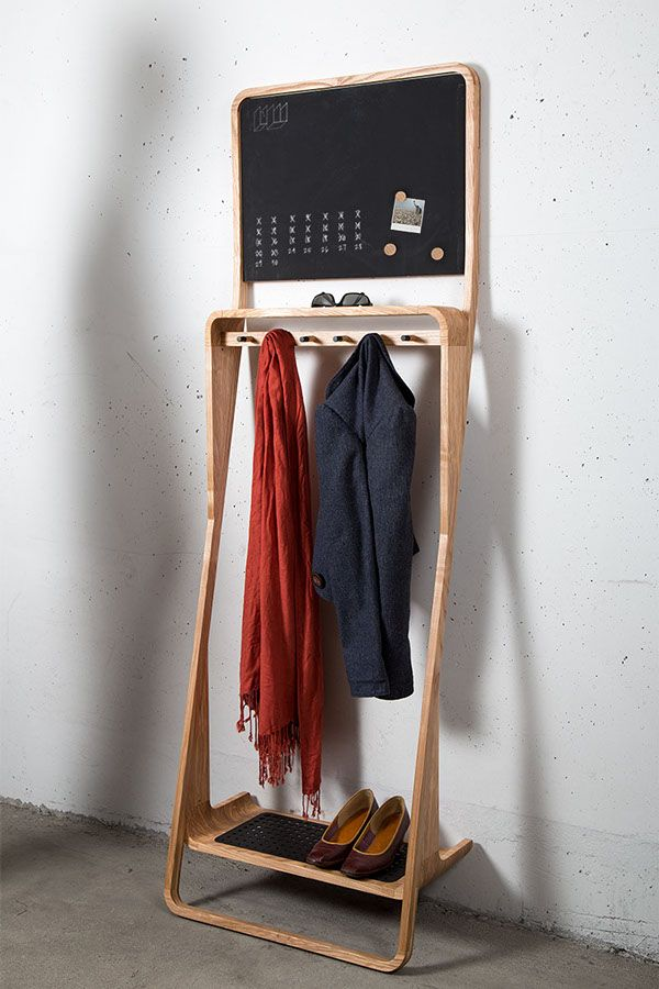 wood multifunctional coat stand_The Leaning Loop on Behance