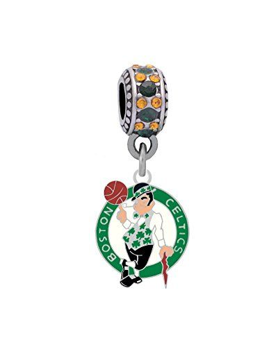 Boston Celtics Logo Charm Fits European Style Large Hole Bead Bracelets:   Jewelry beads and charms are designed to fit most European large hole bead bracelet lines. Charms, beads, jewelry, lockets are not meant to be worn in the shower. They are water resistant not waterproof