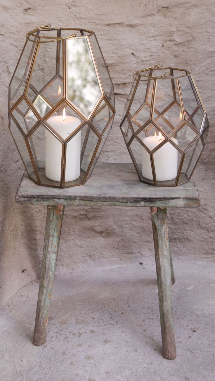 Antique brass lantern with geometric design
