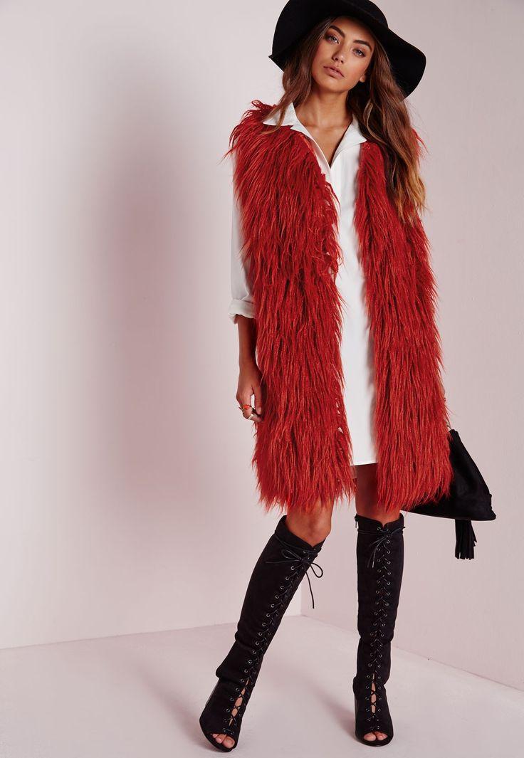 Missguided - Mongolian Faux Fur Longline Gilet Rust