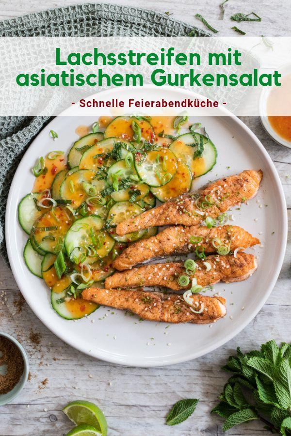 Gebratene Lachsstreifen mit asiatischem Gurkensalat