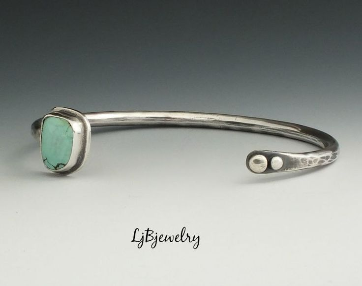 Silver Cuff, Turquoise Cuff, Stacking Cuff, Sterling Silver, Turquoise, Metalsmith, Handmade Jewelry by LjBjewelry on Etsy
