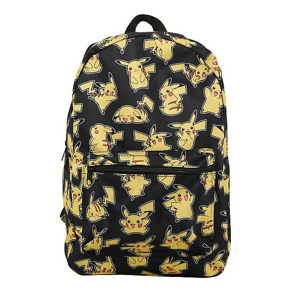 Pokemon Pikachu Print Backpack Hot Topic ($28) ❤ liked on Polyvore featuring bags, backpacks, pattern bag, print backpacks, print bags, day pack backpack and knapsack bag