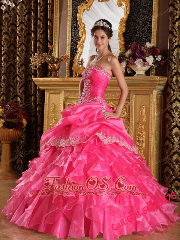 Beautiful Hot Pink Quinceanera Dress Strapless Organza Ball Gown