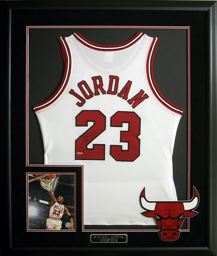 Michael Jordan autographed and framed jersey with photo and plate. #ChicagoBulls…